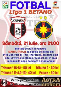 S-au pus în vânzare biletele! Astra Giurgiu vs FCSB